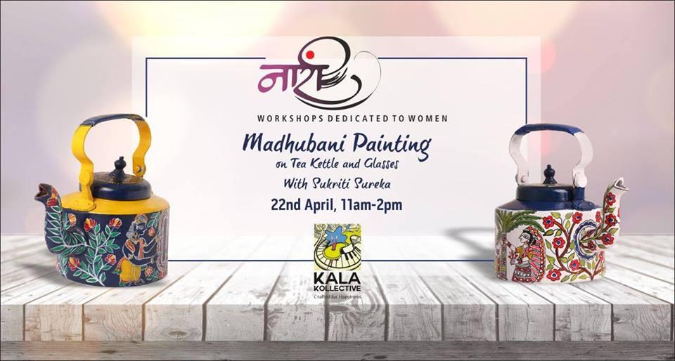 Madhubani Painting on Tea Kettle & Glasses