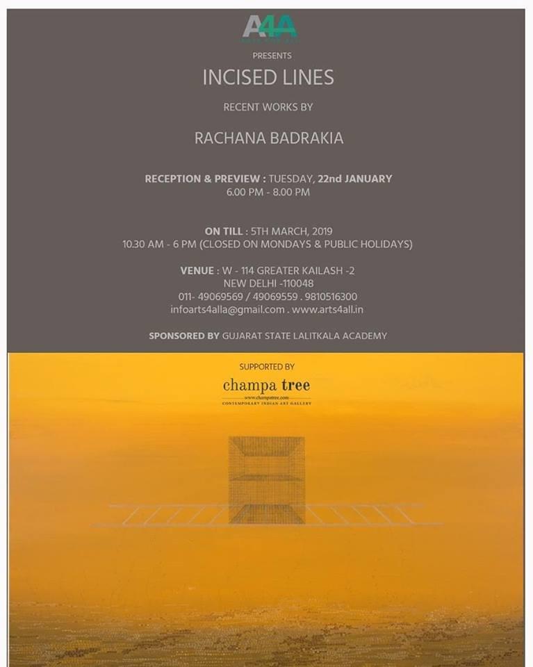 Incised Lines - Recent works by Rachana Badrakia